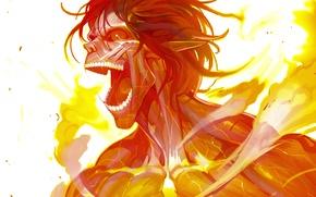 Picture fire, art, Titan, shingeki no kyojin, eren jaeger, rogue titan, ladic monochrome