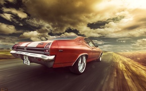 Picture Chevrolet, 1969, Orange, Speed, Chevelle, Rear