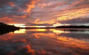 Picture USA, United States, river, trees, sunset, water, view, clouds, reflection, Minnesota, America, United States of ...