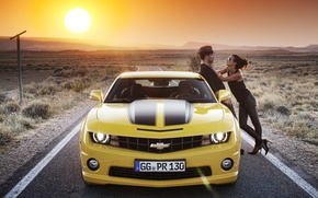 Picture road, girl, the sun, landscape, nature, Wallpaper, mountain, brunette, guy, 2012, Chevrolet, camaro, chevrolet, wallpapers, …