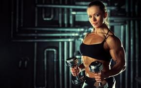 Picture muscles, pose, arms, dumbbells, bodybuilder, Olga Belyakova