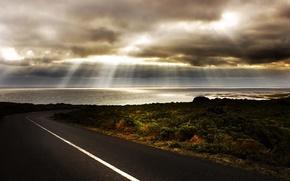 Picture road, sea, light