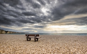 Picture sea, shore, bench