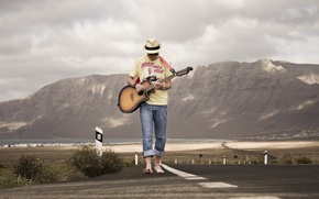 Picture road, music, guitar, guy