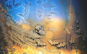 Picture cold, winter, frost, glass, blue, yellow, pattern, frost, dobraatebe