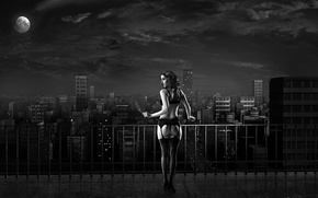 Wallpaper the city, linen, black and white, cigarette
