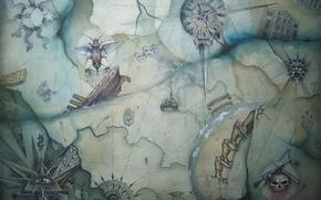 Picture ship, map, beetle, compass, triangle, Enter Shikari
