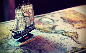 Picture mood, model, boat, ship, map, journey, the ship, the word, mood, travel