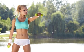 Picture fitness, blonde, outdoor activity, dumbbells