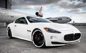 Picture Maserati, white, Granturismo, Vossen