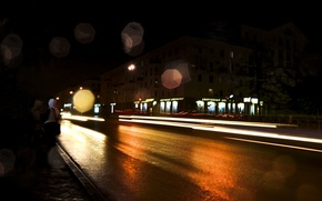 Picture road, night, lights, Perm