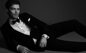 Picture pose, lies, black and white, watch, Joseph Morgan, shirt, Joseph Morgan, pants, actor, jacket, male, ...