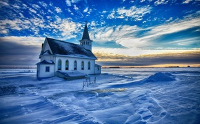 Wallpaper snow, Church, winter, glow, the sky, clouds