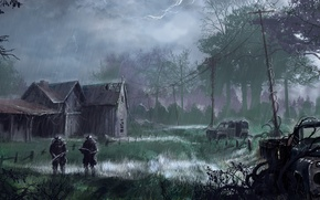 Picture machine, forest, rain, the building, soldiers, stalkers