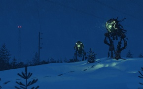 Wallpaper snow, night, traces, fiction, tree, post, robots, lighting, art, tower, artist, Blizzard, go, Simon Stålenhag, ...