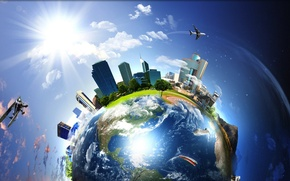 Picture the sky, the city, aircraft, Earth