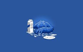 Picture blue, milk, cookies, monster, blue, Cookie monster, Sesame Street, pecenjevce monster, Sesame Street, Cookie