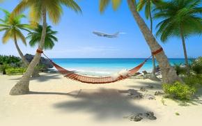 Picture sea, beach, tropics, The plane, hammock, beach, sea, hammock, tropics, flying over the island, The …