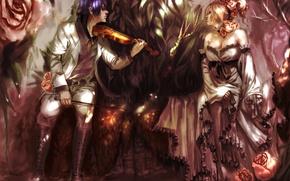 Picture girl, flowers, violin, roses, anime, art, guy, genki-de