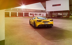 Picture auto, yellow, Ferrari, Ferrari, rear view, Rosso, Novitec, 488 GTB