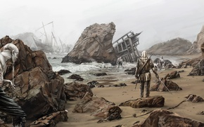 Picture shore, ships, The Witcher, The Witcher, rpg, Geralt, CD Projekt RED, utoptsev