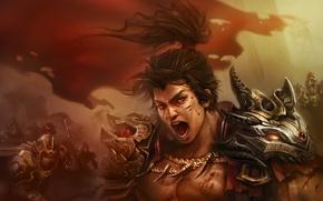 Picture face, warrior, male, battle, Creek