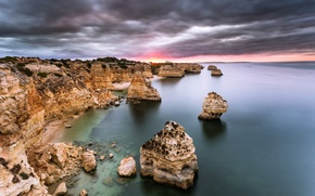 Wallpaper rock, sunrise, dawn, algarve, atlantic ocean, portuga