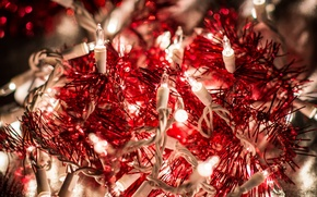 Picture red, macro, garland, holidays, light, tinsel, winter, the rain, lights, bokeh