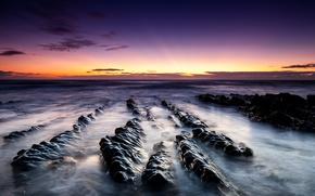 Picture sand, beach, landscape, stones, the ocean, rocks, dawn