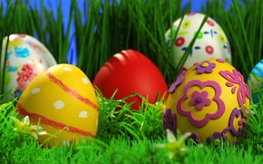 Wallpaper Easter eggs, grass, holiday, patterns, Easter