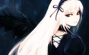 Picture look, girl, Gothic, wings, the demon, rozen maiden, suigintou, white hair, art, hironox