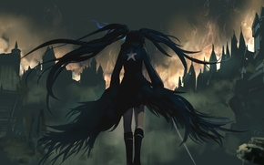 Picture girl, the city, fire, back, home, anime, art, ruins, black rock shooter, catch the worm, …