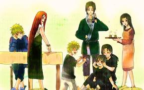 Picture anime, art, Naruto, Naruto, Uchiha Itachi, Uchiha Sasuke, family, Naruto Uzumaki, Kushina Uzumaki, Namikaze Minato, …
