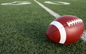 Picture grass, football, american, ball, pitch, american football