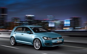 Picture machine, the city, movement, the evening, volkswagen golf