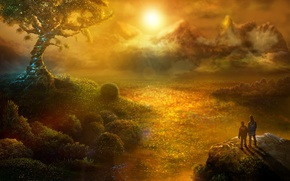 Picture landscape, sunset, mountains, tree, fantasy