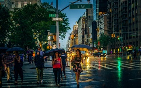 Picture the city, lights, people, rain, street, the building, morning