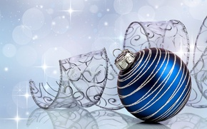 Picture decoration, blue, patterns, toy, ball, New Year, Christmas, tape, Christmas, holidays, New Year, Christmas, silver, …