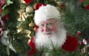 Picture decoration, childhood, smile, mood, holiday, balls, new year, tree, Santa Claus, Santa