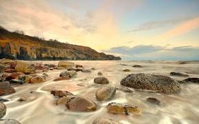 Picture sea, wave, stones, dawn, shore