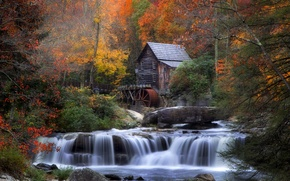 Wallpaper waterfall, foliage, water mill, autumn, house, forest, river, stones