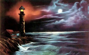 Picture sea, water, landscape, night, the ocean, the moon, shore, wave, lighthouse, picture, painting, Bob Ross, …