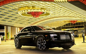 Wallpaper car, light, lights, reflection, Rolls-Royce, car, luxury, beautiful, the front, luxury, rolls-Royce, Wraith, Black Badge