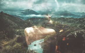 Wallpaper girl, forest, river, clouds, hills, double exposure