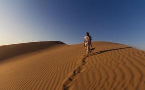Picture girl, sky, desert, sand, sunlight, walking, dunes, dry