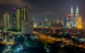 Picture night, lights, home, skyscrapers, Malaysia, Kuala Lumpur