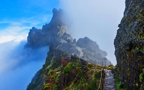 Wallpaper clouds, mountains, rocks, Portugal, Madeira