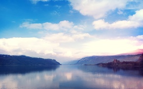 Picture forest, clouds, lake, surface, shore