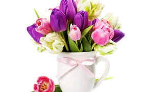 Picture bouquet, spring, colorful, purple, tulips, pink, bow, March 8, bouquet, Tulips