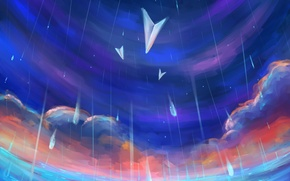 Picture the sky, water, clouds, rain, art, painting, weather, paper, airplanes, Gabrielle Ragusi
